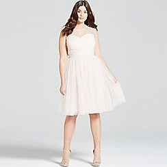 Little Mistress - Curvy nude embellished sheer prom dress