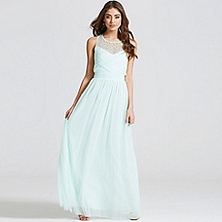 Little Mistress - Seafoam embellished pleat detail maxi dress