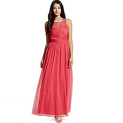 Little Mistress - Cherry embellished pleat detail maxi dress