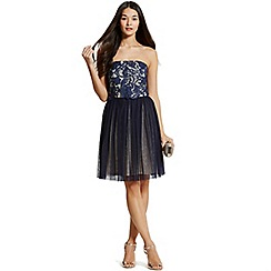 Little Mistress - Navy lace overlay bandeau prom dress