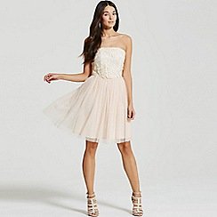 Little Mistress - Cream and nude lace overlay bandeau prom dress