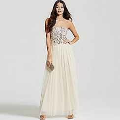 Little Mistress - Beige lace overlay bandeau maxi dress