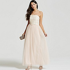 Little Mistress - Cream and nude lace overlay bandeau maxi dress