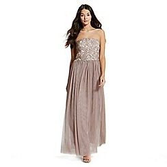 Little Mistress - Nude and mocha lace overlay bandeau maxi dress