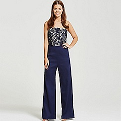 Little Mistress - By Chloe Lewis navy lace bandeau tailored jumpsuit