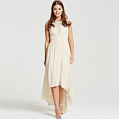 Little Mistress - By Chloe Lewis beige dipped hem maxi dress