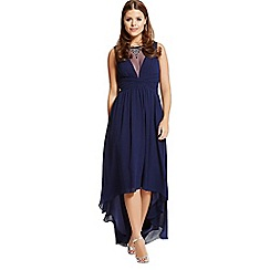 Little Mistress - By Chloe Lewis navy dipped hem maxi dress