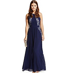 Little Mistress - By Chloe Lewis navy lace exposed back maxi dress
