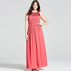 Little Mistress - Curvy pink embroidered empire maxi dress