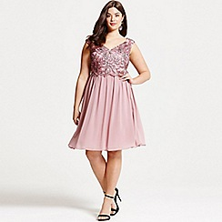 Little Mistress - Curvy dusty pink embroidered prom dress