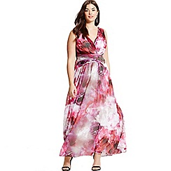 Little Mistress - Curvy blurred floral print embellished maxi dress