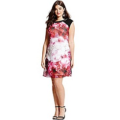Little Mistress - Curvy blurred floral print embellished neck shift dress