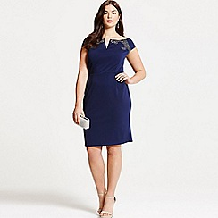 Little Mistress - Curvy navy embellished bardot bodycon dress