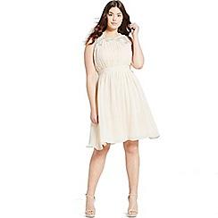 Little Mistress - Curvy beige embellished chiffon prom dresss