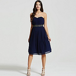 Little Mistress - Navy pleated prom dress