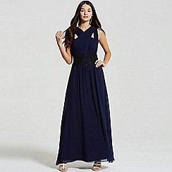 Little Mistress - Navy and black applique crossover maxi dress