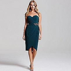 Little Mistress - Teal wrap over bandeau dress