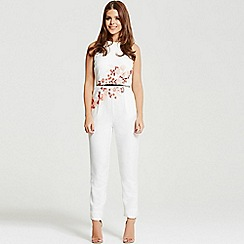 Little Mistress - By Chloe Lewis white embroidered tailored jumpsuit