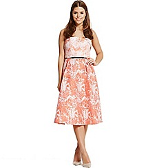 Little Mistress - By Chloe Lewis coral jacquard fold front bandeau midi dress