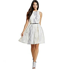 Little Mistress - Silver and white organza embroidered prom dress