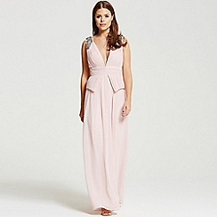 Little Mistress - By Chloe Lewis blush plunge peplum maxi dress