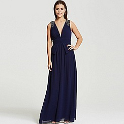 Little Mistress - By Chloe Lewis navy plunge peplum maxi dress