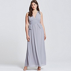 Little Mistress - Grey plunge peplum maxi dress
