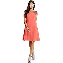 Little Mistress - Coral embellished open back shift dress