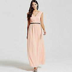 Little Mistress - Peach open back embellished waist maxi dress