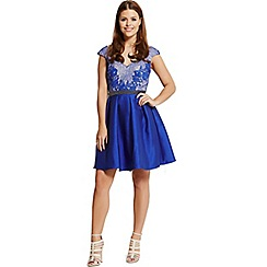 Little Mistress - By Chloe Lewis cobalt embellished lace fit and flare dress