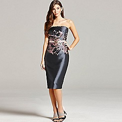 Little Mistress - Grey jacquard bandeau dress