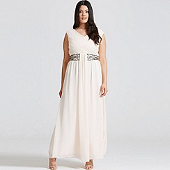 Little Mistress - Nude drape maxi dress with embellishment