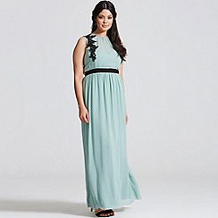 Little Mistress - Sage embroidered front maxi dress