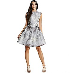 Little Mistress - Silver jacquard skater dress
