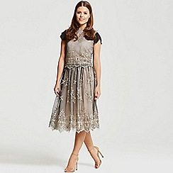 Little Mistress - By Chloe Lewis black and mocca lace overlay skirt