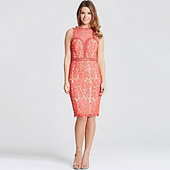 Little Mistress - By Chloe Lewis coral crochet and lace bodycon dress