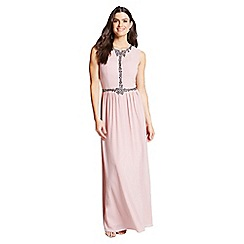 Little Mistress - Rose exposed back embellished maxi dress