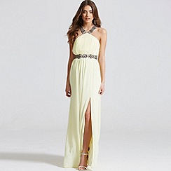Little Mistress - Lemon embellished exposed back maxi dress