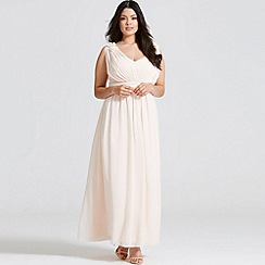 Little Mistress - Nude corsage plunge maxi dress