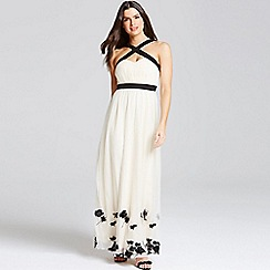 Little Mistress - Beige petal applique maxi dress