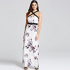Little Mistress - Floral print cross strap maxi dress