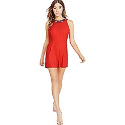 Little Mistress - Tomato red embellished neck playsuit