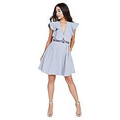 Little Mistress - Grey plunge ruffle mini dress