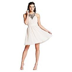Little Mistress - Beige sequin trim prom dress