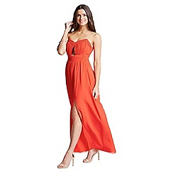 Little Mistress - Tomato red cut out bandeau maxi dress