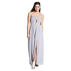 Little Mistress - Grey cut out bandeau maxi dress