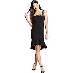 Little Mistress - Black peplum hem dress with embellishment