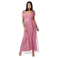 Little Mistress - Rose embellished drape shoulder maxi dress