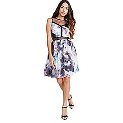 Little Mistress - Oil print prom dress with lace trim