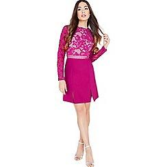 Little Mistress - Raspberry lace panel shift dress